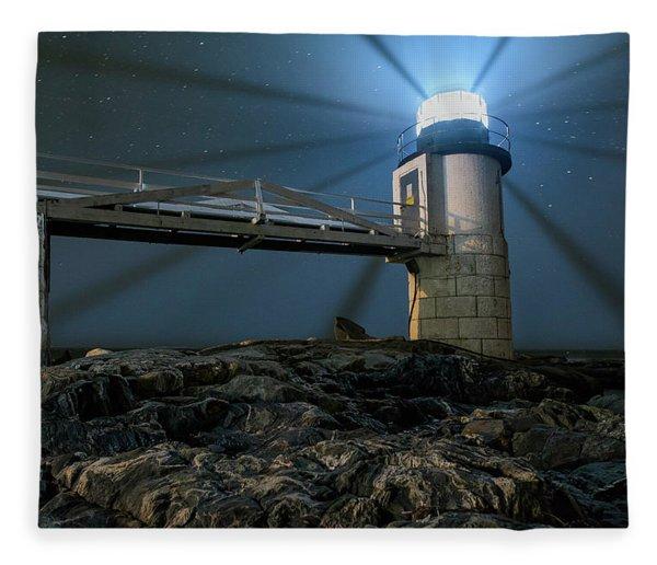 Mist At Marshall Point Light Fleece Blanket