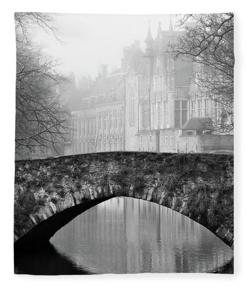 Fleece Blanket featuring the photograph Misty Morning Canal In Bruges by Barry O Carroll