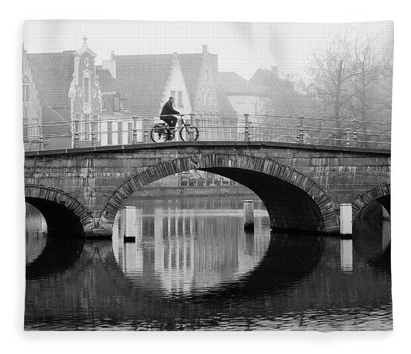 Fleece Blanket featuring the photograph Misty Morning In Bruges  by Barry O Carroll