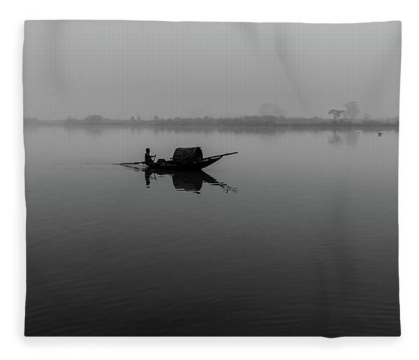 Misty Morning On The Lower Ganges Fleece Blanket
