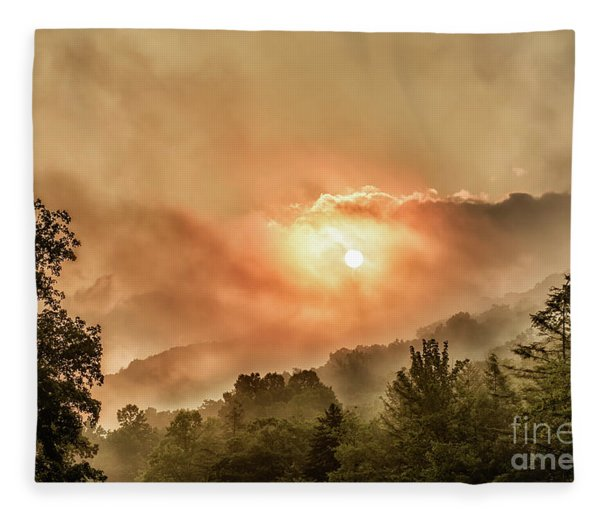 Misty Sunrise On The Mountain  Fleece Blanket