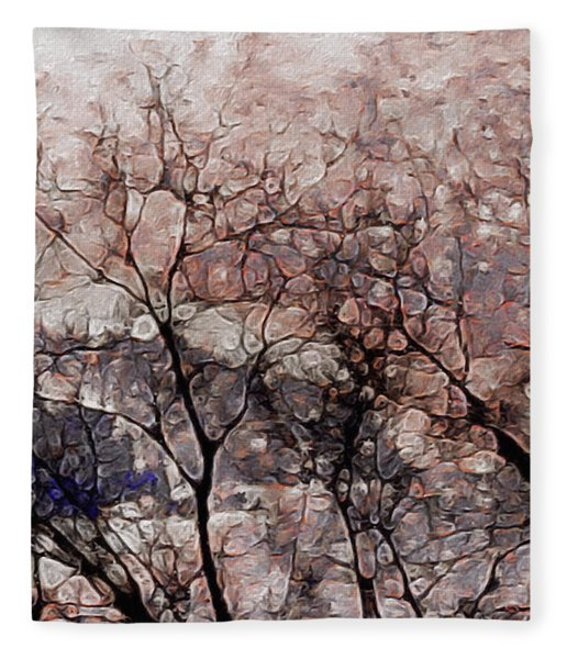 Fleece Blanket featuring the mixed media Misty Sunrise On Whidbey Island by Susan Maxwell Schmidt