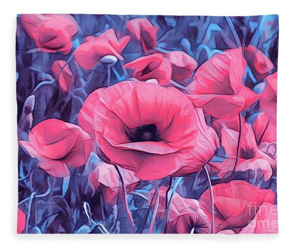 Modern Poppies Fleece Blanket