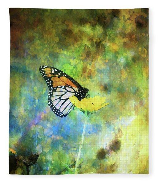 Monarch In Azure And Gold 5647 Idp_2 Fleece Blanket