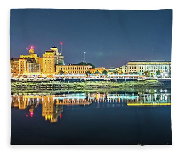 Fleece Blanket featuring the photograph Monroe Louisiana City Skyline At Night by Alex Grichenko