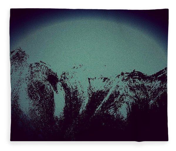 Moon In The Mountains Fleece Blanket