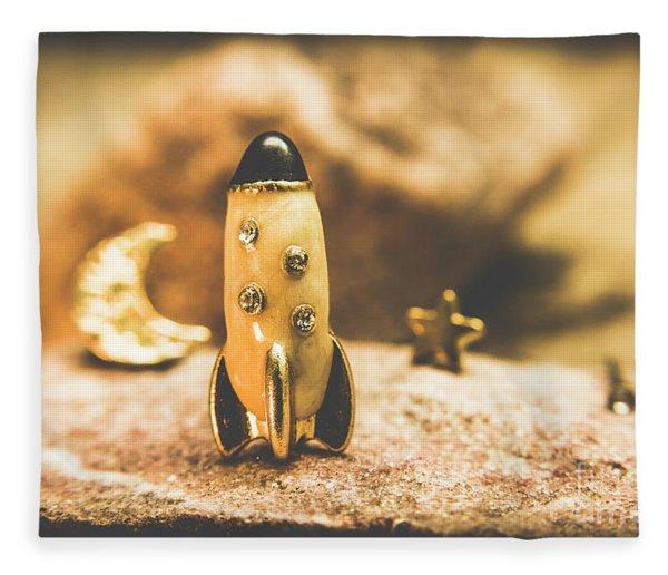 Moon Rocket At Space Station On The Dark Side Fleece Blanket