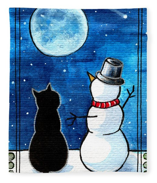 Moon Watching With Snowman - Christmas Cat Fleece Blanket