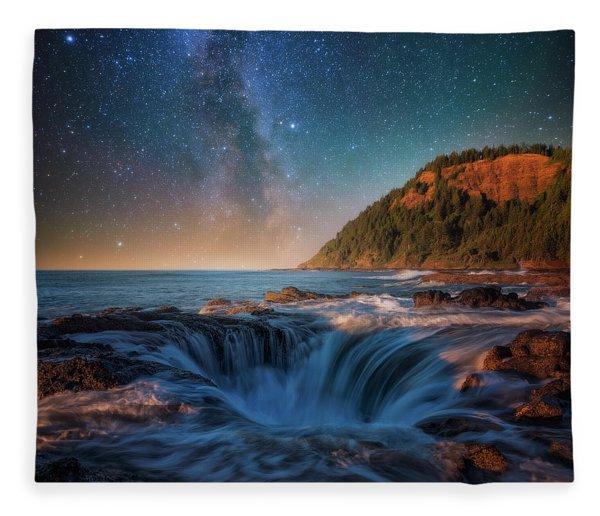 Moonlight Night At The Well Fleece Blanket