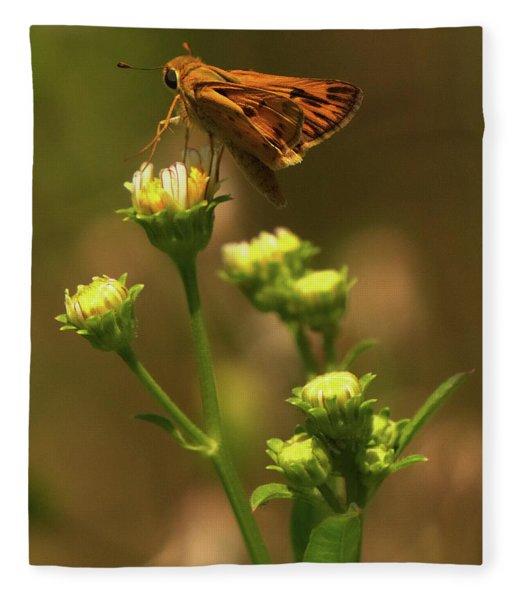 Moth Sitting On Yellow Flower Fleece Blanket