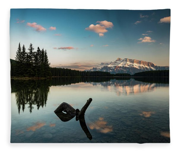 Mount Rundle And Two Jack Lake Fleece Blanket