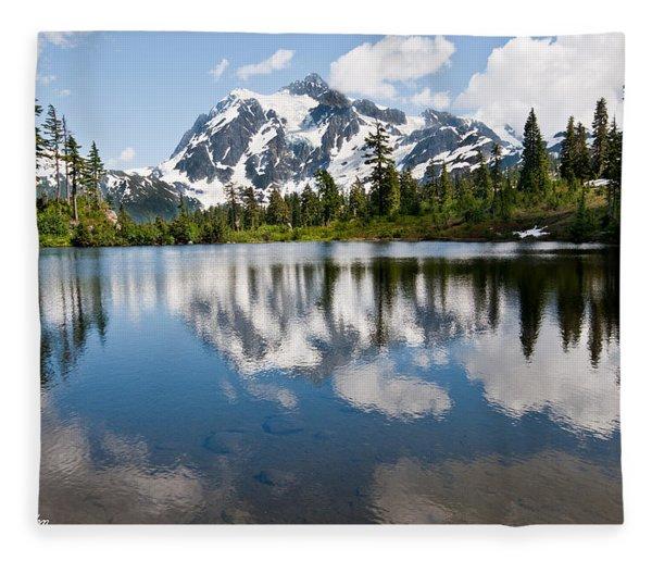 Mount Shuksan Reflected In Picture Lake Fleece Blanket