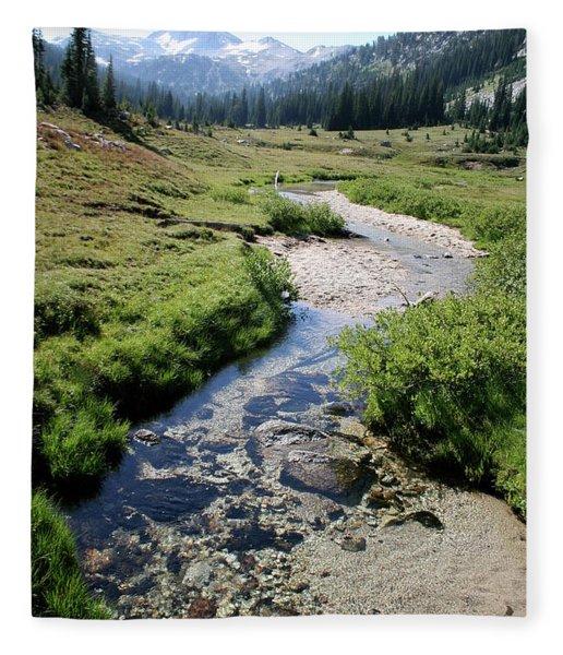 Mountain Meadow And Stream Fleece Blanket