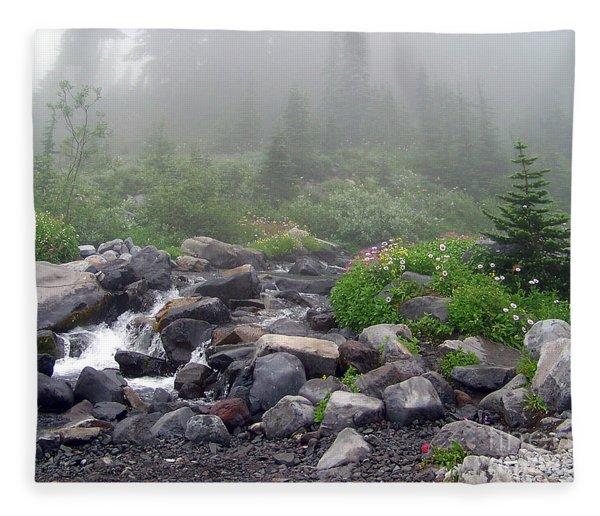 Mt Ranier Meadow Fleece Blanket