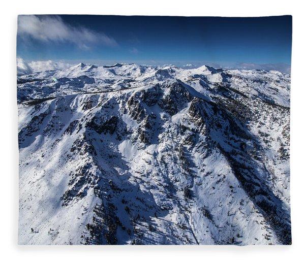 Mt Tallac Winter Aerial - Brad Scott Fleece Blanket