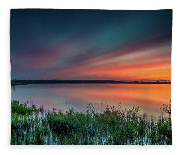 Mud Bay Sunset 4 Fleece Blanket