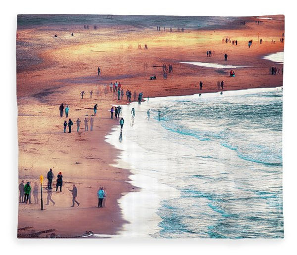 multiple exposure of people on North sea beach  Fleece Blanket