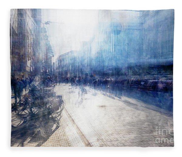 Multiple Exposure Of Shopping Street Fleece Blanket