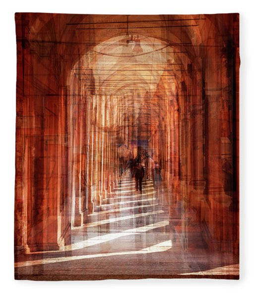 multiple exposure of  street arcade, Italy  Fleece Blanket