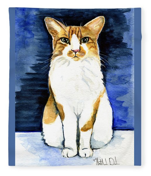Mustached Bicolor Beauty - Cat Portrait Fleece Blanket