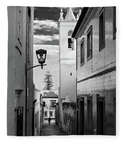 Fleece Blanket featuring the photograph Narrow Street And Bell Tower In Tavira - Portugal by Barry O Carroll