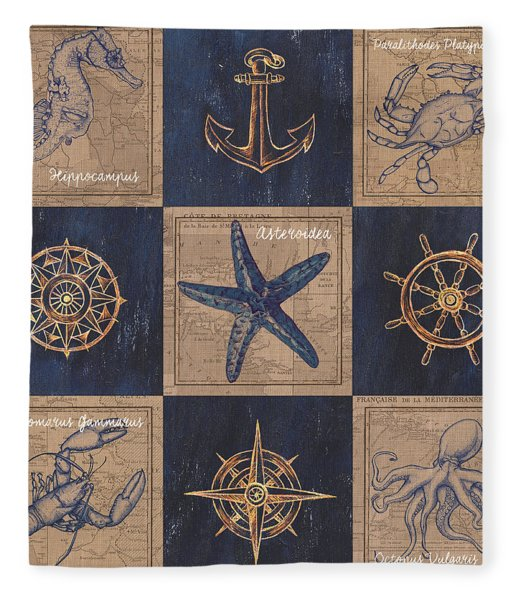 Nautical Burlap Fleece Blanket