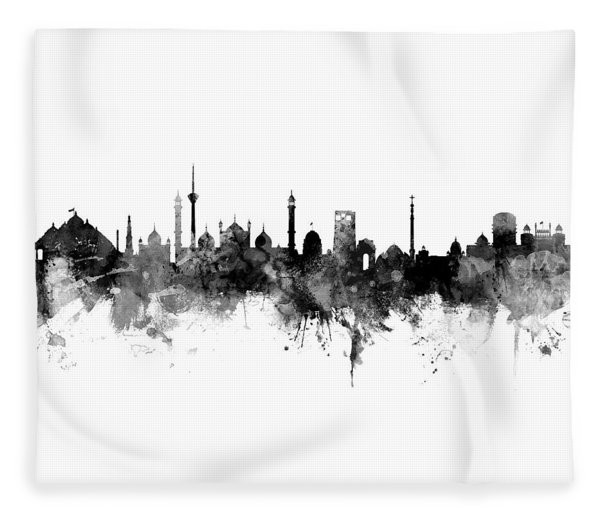 New Delhi India Skyline Panoramic Fleece Blanket