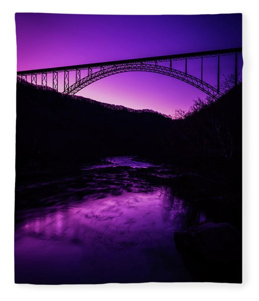 New River Gorge Bridge Afterglow Fleece Blanket