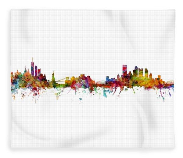 New York And Pittsburgh Skyline Mashup Fleece Blanket