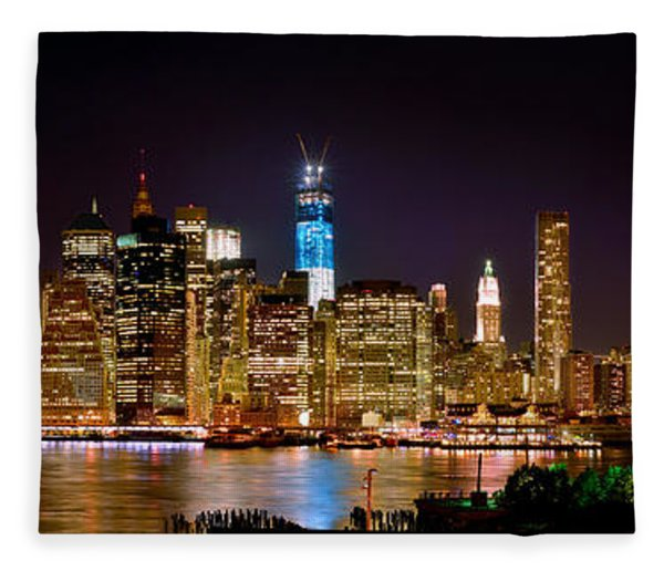 New York City Tribute In Lights And Lower Manhattan At Night Nyc Fleece Blanket