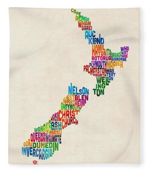 New Zealand Typography Text Map Fleece Blanket