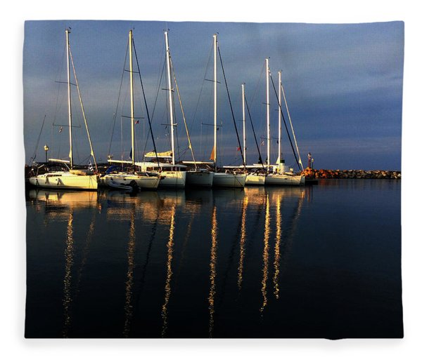 Fleece Blanket featuring the photograph Night On Paros Island Greece by Colette V Hera  Guggenheim