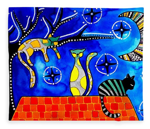 Night Shift - Cat Art By Dora Hathazi Mendes Fleece Blanket