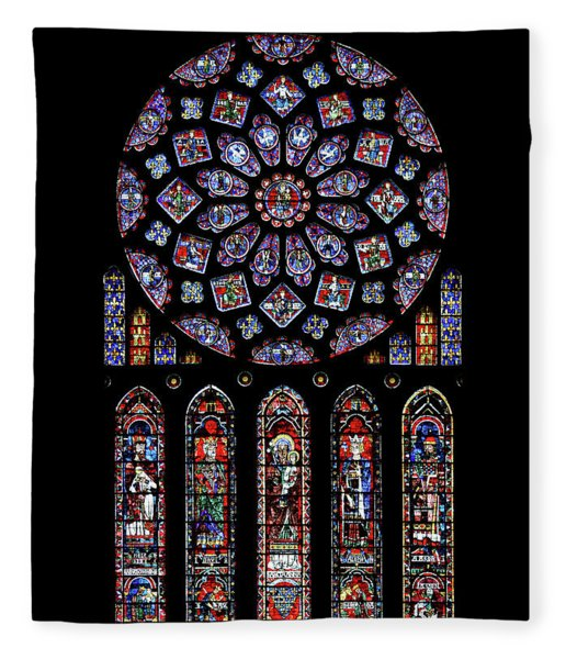 North Rose Window Of Chartres Cathedral Fleece Blanket