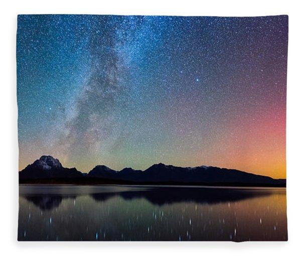 Northern Lights Over Jackson Lake Fleece Blanket