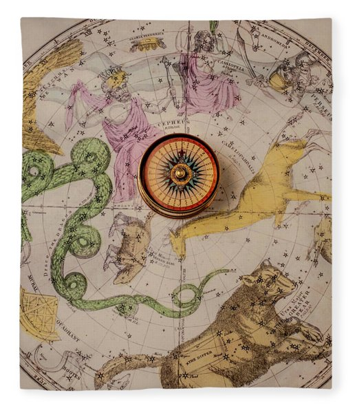 Northern Star Map And Compass Fleece Blanket