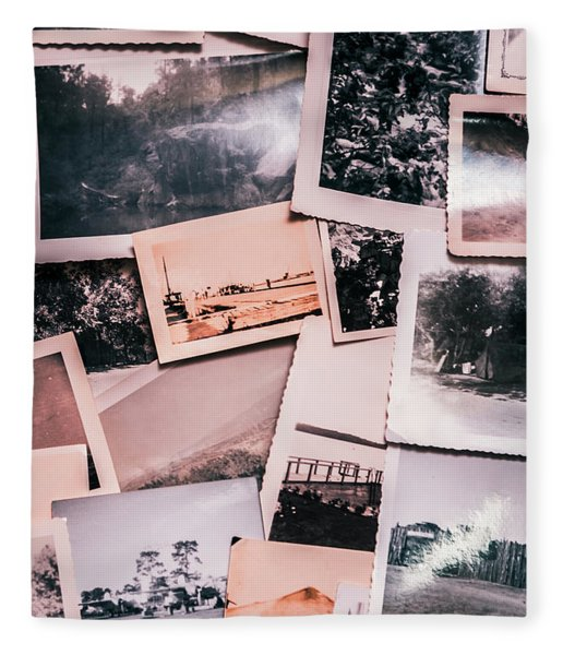 Nostalgic Photo Print Background Of A Collection Of Old Faded Sc Fleece Blanket