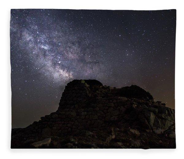 Nuraghe Of Sardinia Under The Stars Fleece Blanket