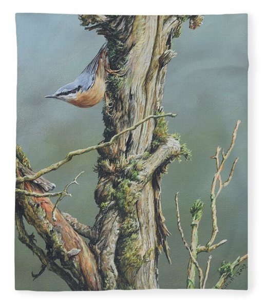 Fleece Blanket featuring the painting Nuthatch by Alan M Hunt