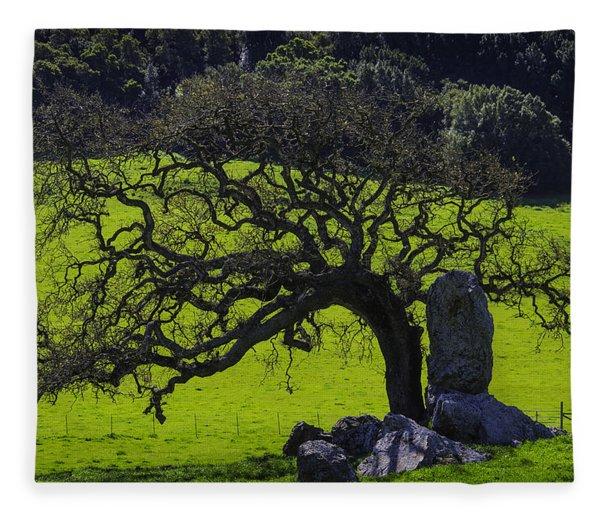 Oak Tree And Rock Fleece Blanket