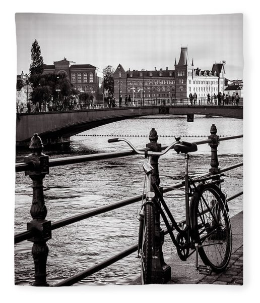 Old Bicycle In Central Stockholm Fleece Blanket