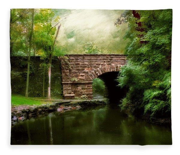 Old Country Bridge Fleece Blanket
