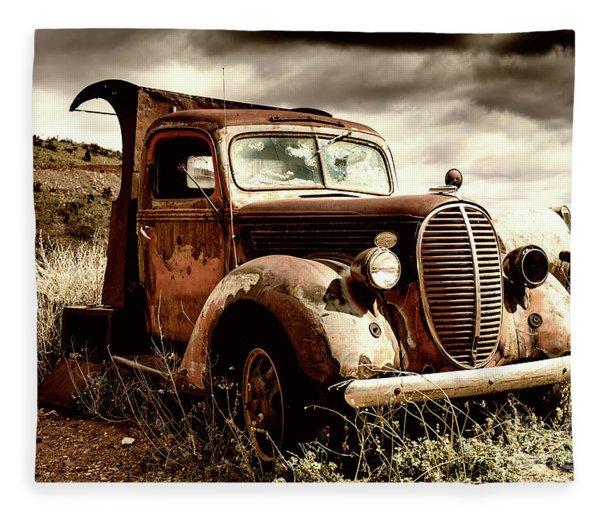 Old Ford Truck In Desert Fleece Blanket