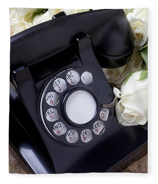 Old Phone And White Roses Fleece Blanket