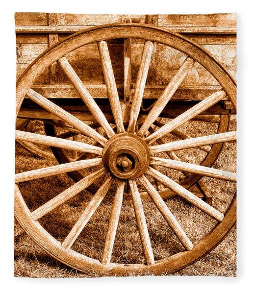 Old Prairie Schooner Wheel - Sepia Fleece Blanket