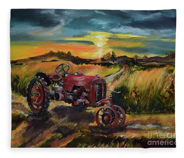 Old Red At Sunset - Tractor Fleece Blanket