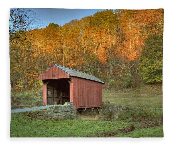 Old Red Or Walkersville Covered Bridge Fleece Blanket