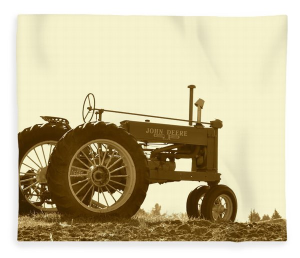 Old Tractor IIi In Sepia Fleece Blanket