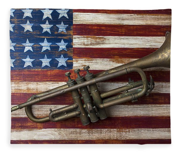 Old Trumpet On American Flag Fleece Blanket