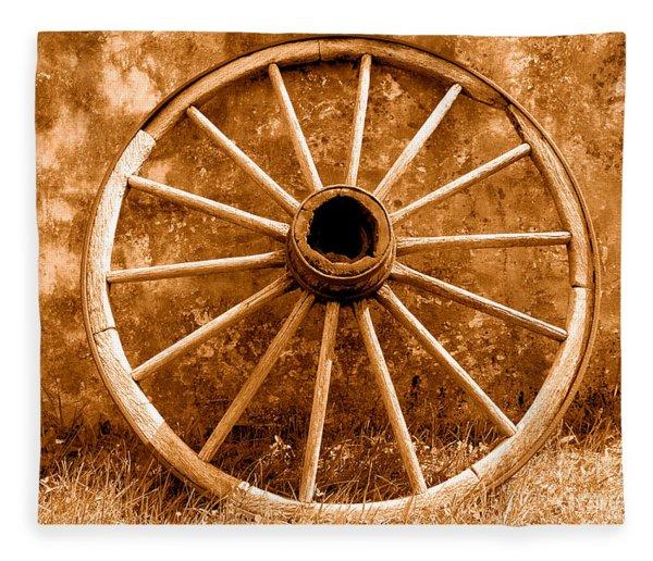 Old Wagon Wheel - Sepia Fleece Blanket
